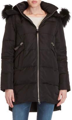 Derek Lam 10 Crosby Black Real Fur Trim Hooded Down Coat