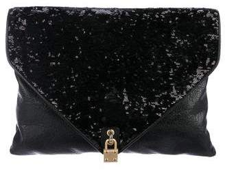 Alexis Hudson Leather Sequined Clutch