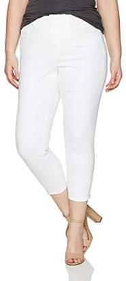 Melissa McCarthy Women's Plus Size Pencil Contrast Leg Opening Zippers Jean,14W