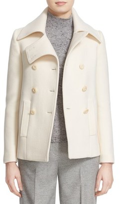 Women's Nordstrom Signature And Caroline Issa Stretch Melton Peacoat $999 thestylecure.com
