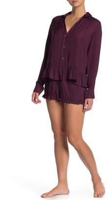 Josie Satin Long Sleeve Shirt & Shorts Pajama 2-Piece Set