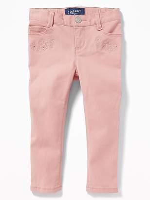 Old Navy Embroidered-Flower Skinny Ballerina Jeans for Toddler Girls