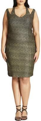 City Chic $89 Women New 1007 Blk Cut Out Glitter Sheath Dress Plus B+B