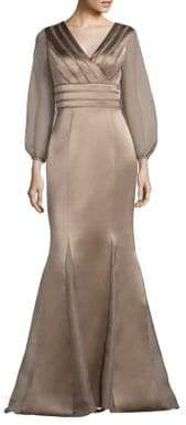 Kay Unger Sheer Sleeve Satin Mermaid Gown