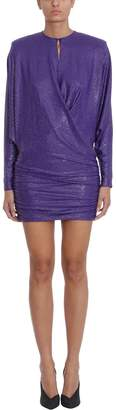 Alexandre Vauthier Purple Silk Crystalised Short Dress