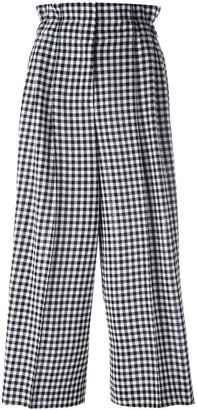 checked loose-fit trousers