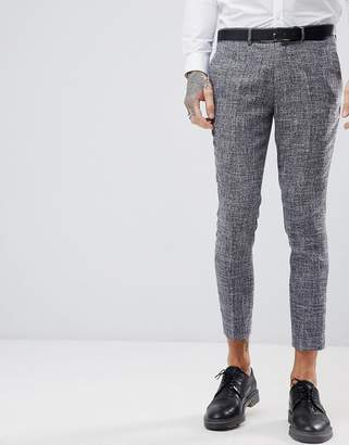 Skinny Fit Nepp Cropped Suit Trousers