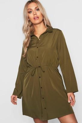 boohoo Plus Drawstring Waist Shirt Dress