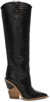 Fendi Cutwalk Croc Embossed Knee High Western Boots