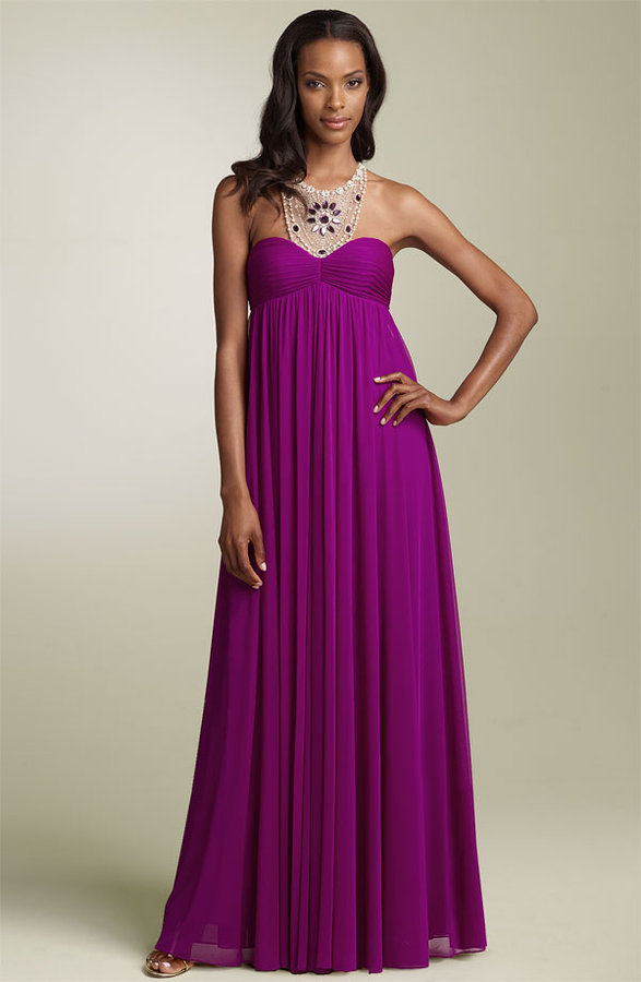 Adrianna Papell Beaded Necklace Empire Gown