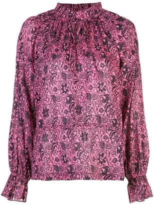 Derek Lam 10 Crosby Long Sleeve Ethnic Floral Print Ruffle Neck Blouse