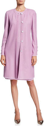 St. John Mitered Wool-Blend Ribbed Button-Sleeve Flared Coat