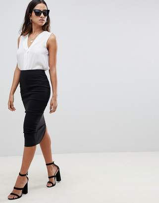 Asos DESIGN high waisted longerline pencil skirt