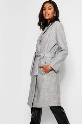 boohoo Horn Button Belted Wool Look Coat