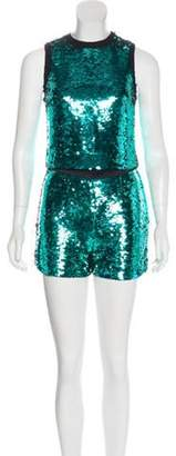 Dolce & Gabbana Sequin Shorts Set w/ Tags Teal Sequin Shorts Set w/ Tags