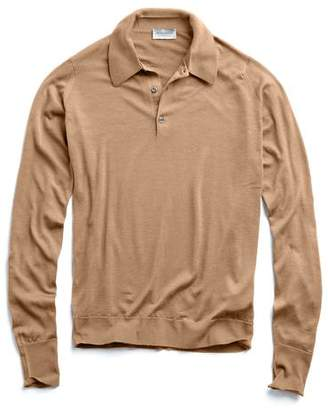 John Smedley Sweaters Long Sleeve Polo in Easy Fit in Camel