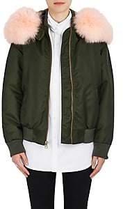 Mr & Mrs Italy Women's Fox Fur-Trimmed Bomber Jacket - Dk. Green