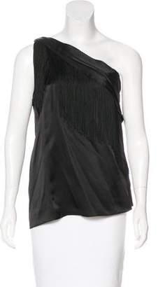 Rachel Zoe Silk Fringe One-Shoulder Top