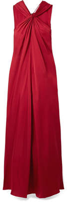 Elizabeth and James Cavan Twist-front Satin-twill Maxi Dress