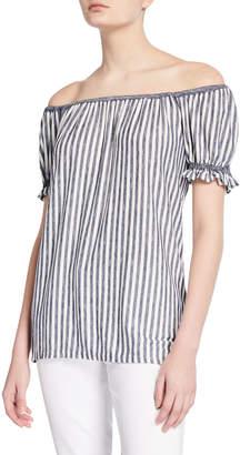 Max Studio Striped Off-the-Shoulder Short-Sleeve Top