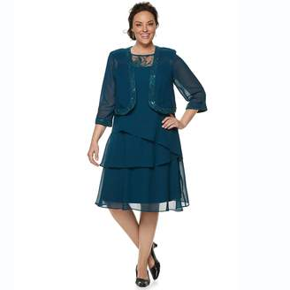 eb0999eadd6e7 Le Bos Plus Size Embroidered Tiered Evening Dress   Jacket Set