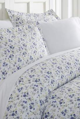 IENJOY HOME Home Spun Premium Ultra Soft 3-Piece Blossoms Print King Duvet Cover Set - Light Blue