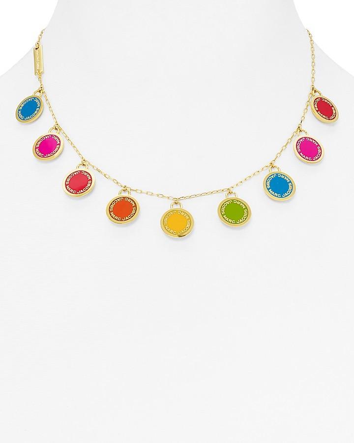 "Marc JacobsMARC JACOBS Logo Disc Rainbow Statement Necklace, 16"""