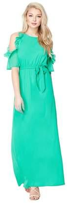 Yumi London - Green Chiffon 'Ouida' Coldshoulder Maxi Dress