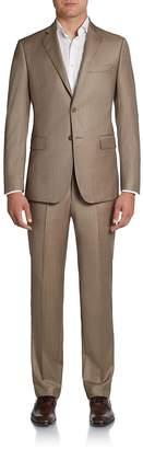 Saks Fifth Avenue BLACK Men's Slim-Fit Sharkskin Wool Suit