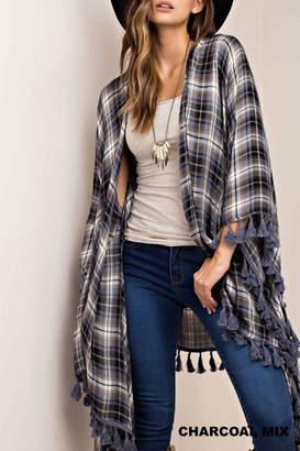 Kori America Plaid Maxi Kimono