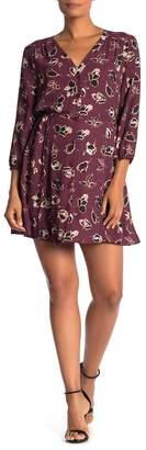 Daniel Rainn DR2 by V-Neck 3/4 Length Sleeve Print Dress