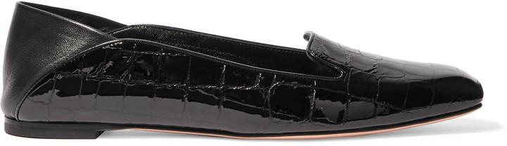 Alexander McQueenAlexander McQueen Croc-effect patent-leather loafers