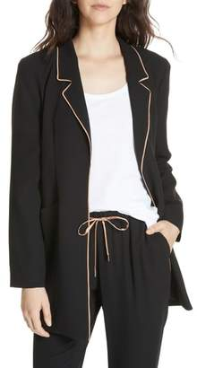 Eileen Fisher Long Piped Trim Blazer