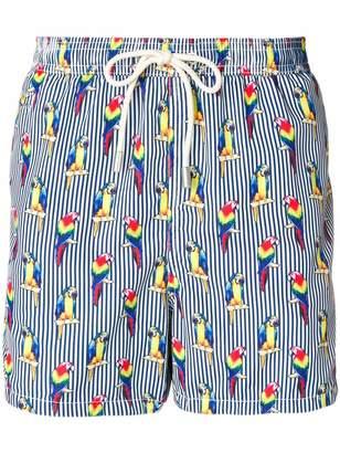 MC2 Saint Barth parrot and stripe print swim shorts