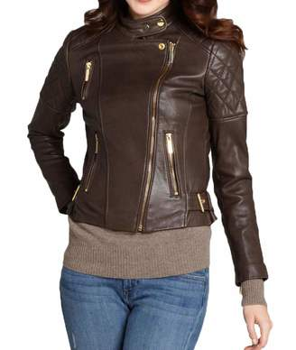 f709250f643a Leather Gallery Womens Genuine Lambskin Bomber Motorcycle Leather Jacket- S