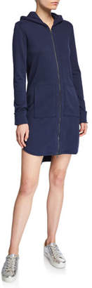 ATM Anthony Thomas Melillo Zip-Front Long-Sleeve French-Terry Hooded Dress
