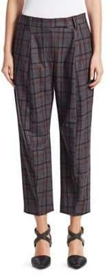 Brunello Cucinelli Check Curved Cigarette Pants