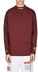 Heron Preston Men's Embroidered Cotton Mock-Turtleneck T-Shirt - Purple