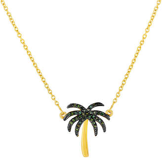 JCPenney FINE JEWELRY 1/10 CT. T.W. Color-Enhanced Green Diamond Palm Tree Necklace
