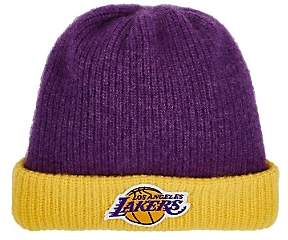 The Elder Statesman X NBA X NBA MEN'S LOS ANGELES LAKERS LOGO CASHMERE WATCHMAN'S CAP-PURPLE