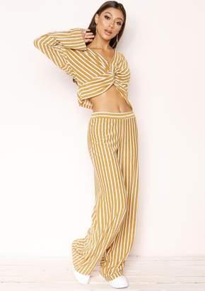 19fbeb65e129 Missy Empire Missyempire Merissa Gold Stripe Glitter Wide Leg Trousers