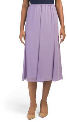 Petite Chiffon Godet Hem Skirt