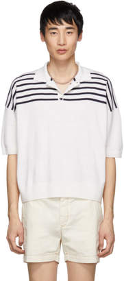 Loewe White and Blue Wool Striped Polo