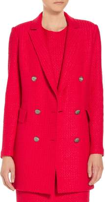 St. John Adina Knit Fitted Double Breasted Blazer