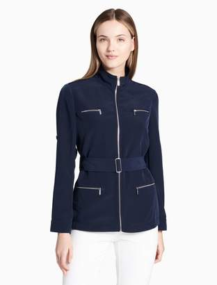 Calvin Klein stand collar roll sleeve belted jacket
