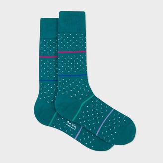 Men's Petrol Fleur-De-Lis Socks With Stripes $30 thestylecure.com