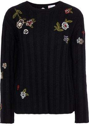 RED Valentino Point D'esprit-paneled Embroidered Ribbed-knit Sweater