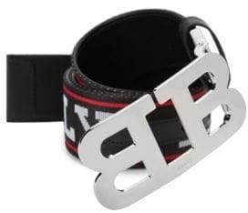 Bally Mirror B Canvas Leather Logo Belt