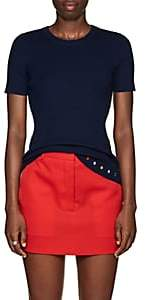 Lisa Perry Women's Rib-Knit Cashmere Short-Sleeve Sweater-Navy