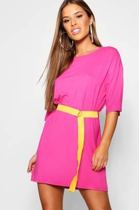 boohoo Petite Belted T Shirt Dress
